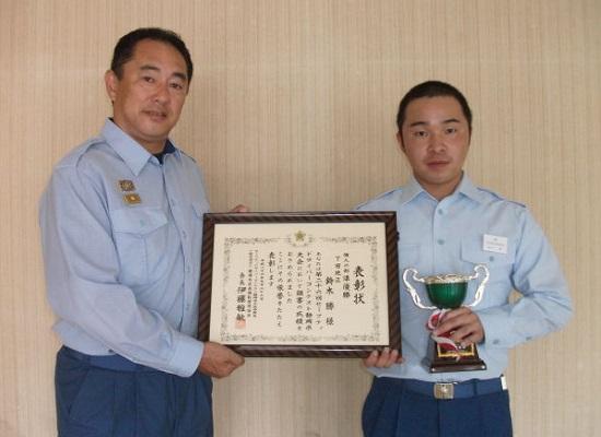 渡辺消防長と鈴木消防士